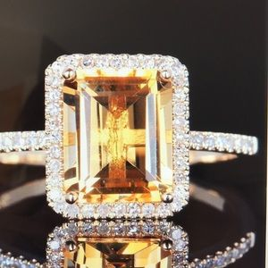 Jewelry - 925 silver citrine and cubic zirconia ring